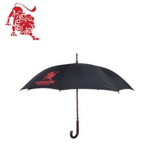 """Зонт - трость черный с деревянной ручкой, с логотипом """"HARTMAN"""""""