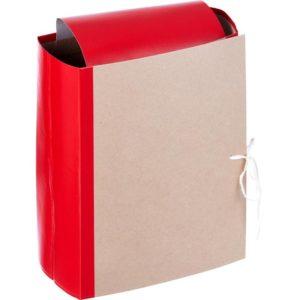 Папка архивная Attache А4 из бумвинила красная 120 мм (складная, 4 х/б завязки, до 1200 листов)
