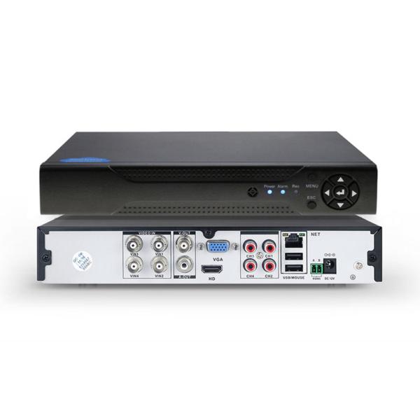 Гибридный видеорегистратор Ps-Link A9104HN на 4 канала с монитором; Блок питания 2А/12В PST VP-EU12V2000MA; Бухта проводов для видеонаблюдения 10 метров с аудиокабелем PST BRD10A; упольная камера видеонаблюдения AHD 2Мп 1080P Ps-Link AHD302M с микрофоном